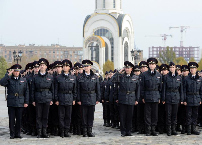 Cadets of the police of the Moscow Law University of the Ministry of Internal Affairs of Russia on the ceremonial building. MOSCOW, RUSSIA-OCTOBER 17, 2015 royalty free stock image