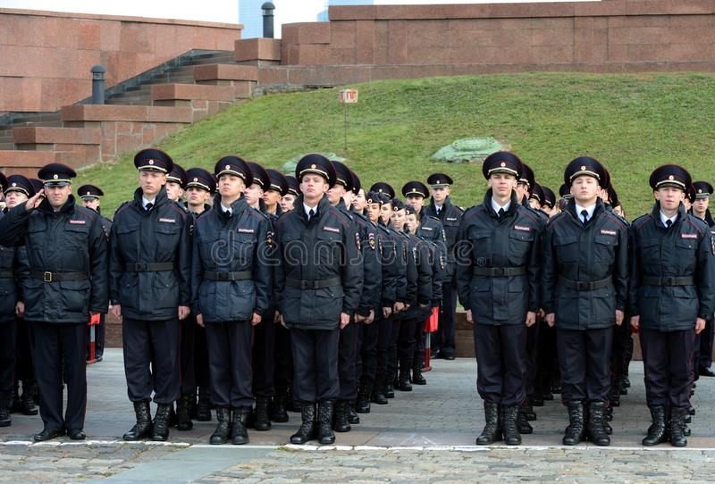 Cadets of the police of the Moscow Law University of the Ministry of Internal Affairs of Russia on the ceremonial building. MOSCOW, RUSSIA-OCTOBER 17, 2015 stock image