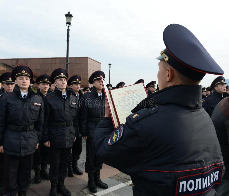 Cadets of the police of the Moscow Law University of the Ministry of Internal Affairs of Russia on the ceremonial building. MOSCOW, RUSSIA-OCTOBER 17, 2015 stock photo