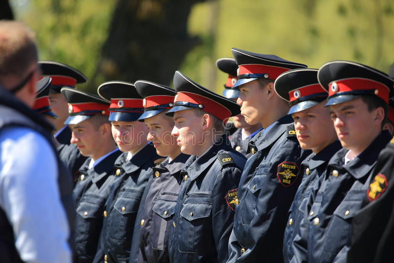 Cadets russes dans l'ordre images stock