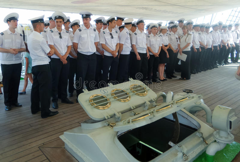 Cadets sur Mircea Training Ship photo libre de droits