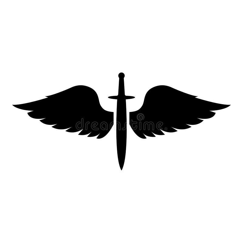 Cadetti di Wings and Spade symbol Arma delle ali dell'arma metallica medievale dell'era medievale Warrior insignia Blazon concett illustrazione di stock
