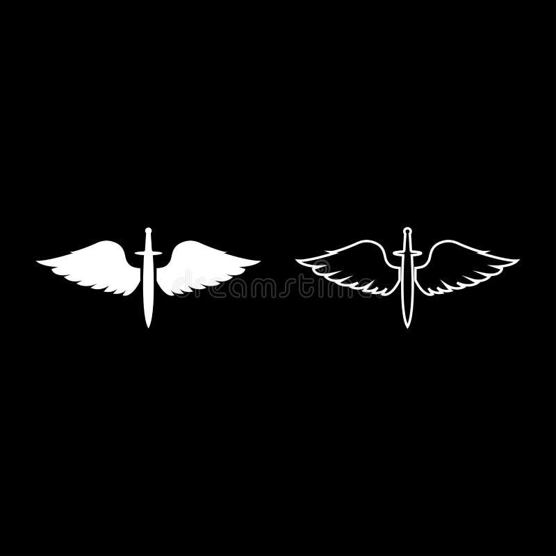 Cadetti di Wings and Spade symbol Armi di alata medievale dell'era medievale Warrior insignia Blazon del concetto di coraggio Bla illustrazione di stock