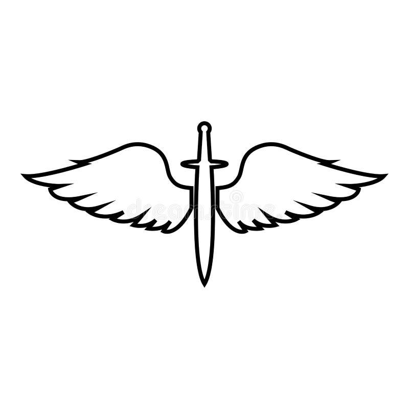 Cadetti di Wings and Spade symbol Armi di alata medievale dell'era medievale Warrior insignia Blazon del concetto di coraggioso s illustrazione vettoriale