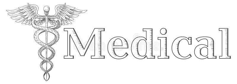 Cadeus医疗医学药房医生acient标志 导航手拉的黑线性tho蛇有翼剑背景 徽标 向量例证