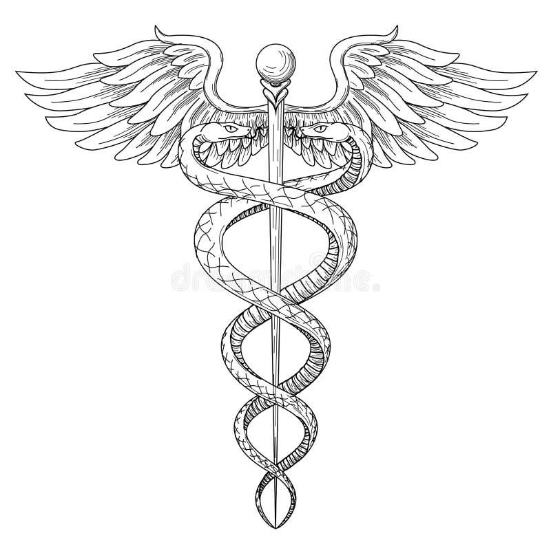 Cadeus medecine apteki Medycznej lekarki acient wysokość wyszczególniał sym ilustracja wektor