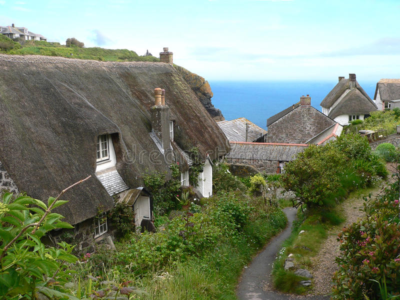 Cadgwith village, south england. Old fishermen village at the cornish coast, south england stock images