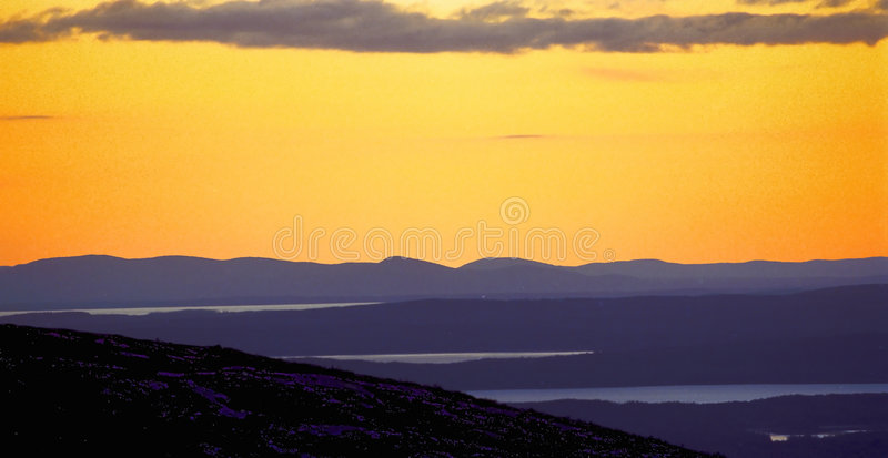 Cadillac ηλιοβασίλεμα βουνών Στοκ Εικόνες