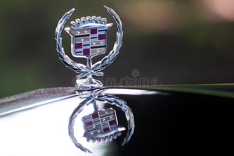 Cadillac hood emblem. Close-up of a Cadillac hood emblem stock photo