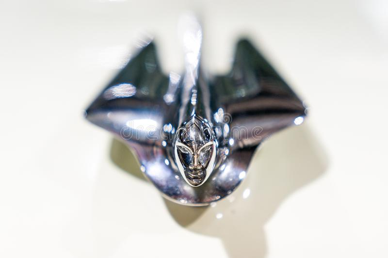 Cadillac Hood Ornament. Closeup macro view of a Cadillac hood ornament royalty free stock images