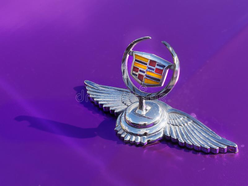 Cadillac, Hood Ornament Emblem. Vintage Cadillac emblem hood ornament closeup view stock photography