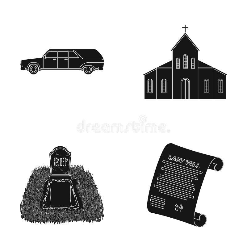 Cadillac preto para transportar a sepultura do falecido, uma igreja para uma cerimônia fúnebre, uma sepultura com uma lápide, a ilustração stock