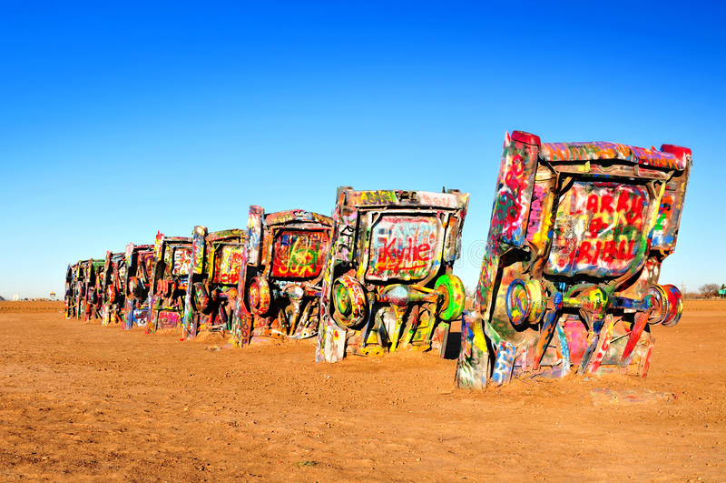 Cadillac-Ranch, Amarillio, Texas USA stockfotografie