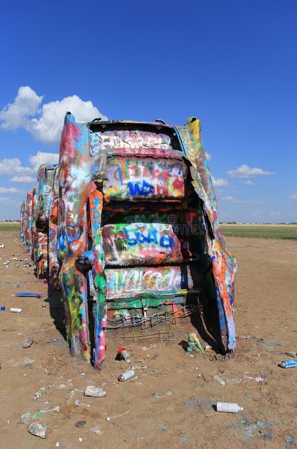 Cadillac ranch, Amarillo, Texas fotografering för bildbyråer