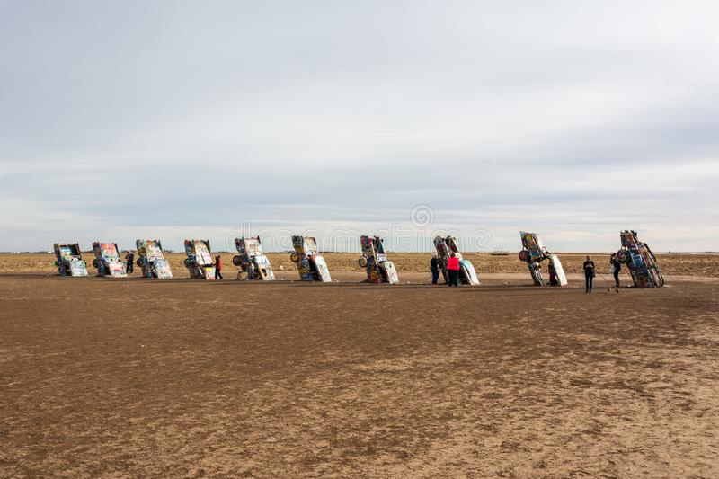 Cadillac Ranch monument in Amarillo, TX. Amarillo, Texas, United States of America - January 2, 2017. Cadillac Ranch monument in Amarillo, TX stock photo