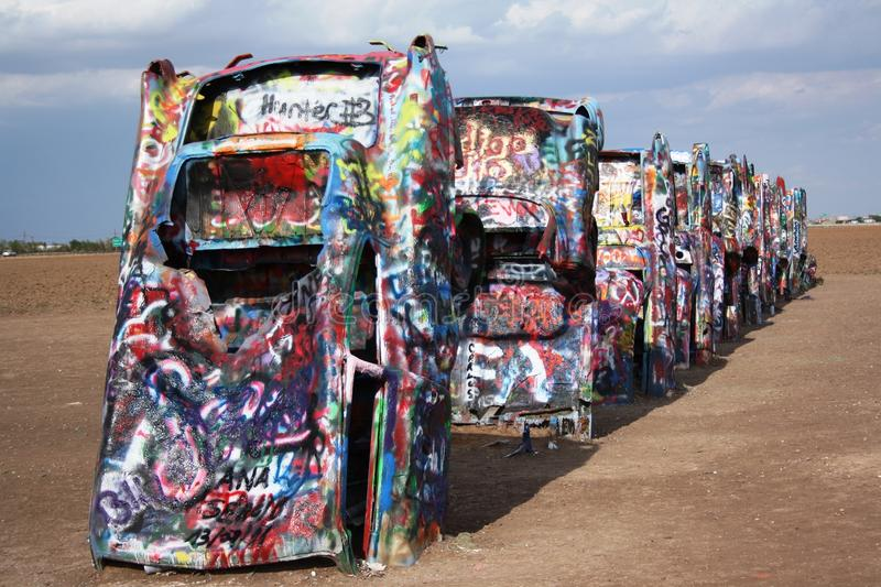 Cadillac Ranch near Amarillo, Texas. Buried cars at Cadillac Ranch near Amarillo Texas. Graveyard of old cars and a symbol of the Historic Route 66 stock image