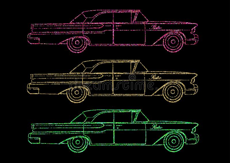 Cadillac retro, carro ilustração do vetor