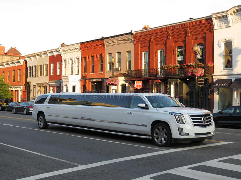 Cadillac Stretch Limo on Saturday stock photo
