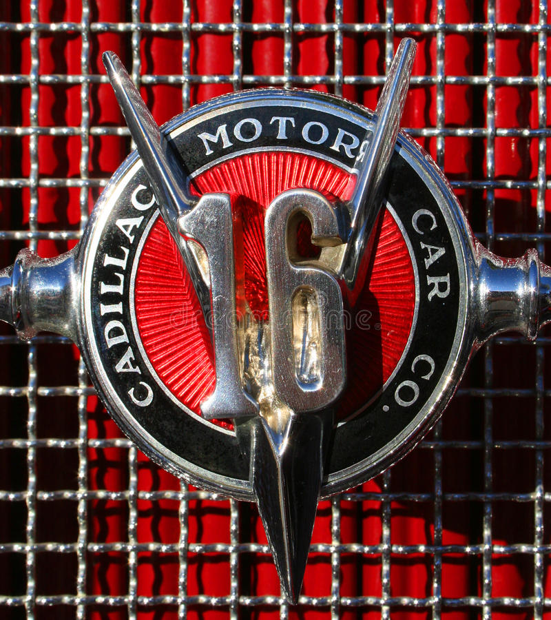 Cadillac V16 Hood Badge. Classic Art-Deco Cadillac V16 Hood Badge stock photo