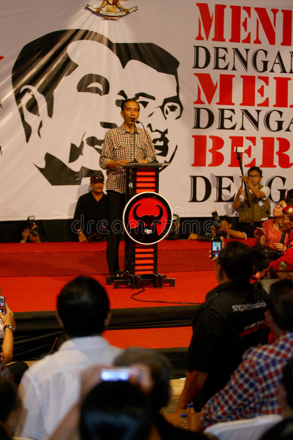 Cadindates for presiden indonesia. Candidates for President of Indonesia Joko Widodo meet supporters in the city of Solo, Central Java, Indonesia stock images