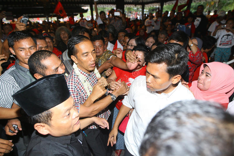 Cadindates for presiden indonesia. Candidates for President of Indonesia Joko Widodo meet supporters in the city of Solo, Central Java, Indonesia royalty free stock images