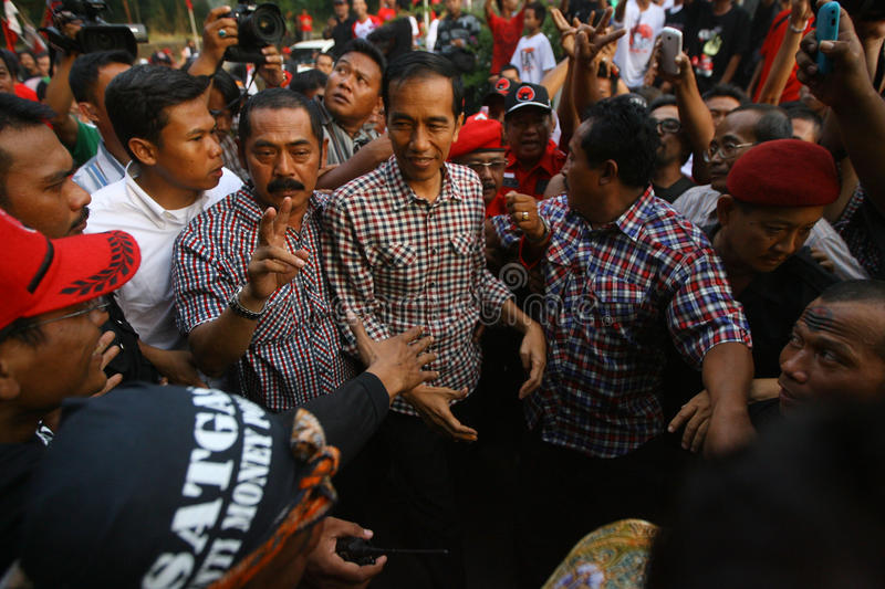 Cadindates for presiden indonesia. Candidates for President of Indonesia Joko Widodo meet supporters in the city of Solo, Central Java, Indonesia stock photos