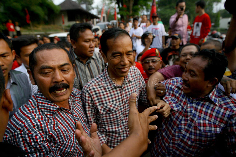 Cadindates for presiden indonesia. Candidates for President of Indonesia Joko Widodo meet supporters in the city of Solo, Central Java, Indonesia stock photography