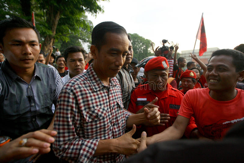 Cadindates for presiden indonesia. Candidates for President of Indonesia Joko Widodo meet supporters in the city of Solo, Central Java, Indonesia royalty free stock photos