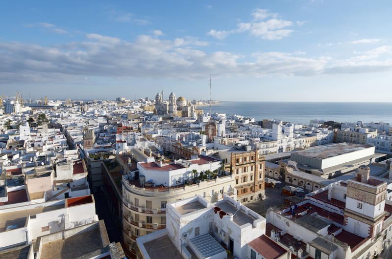 Cadiz. Aerial view of the old town of Cadiz, in the middle and the bottom shows the cathedral, Andalucia, Spain royalty free stock photo