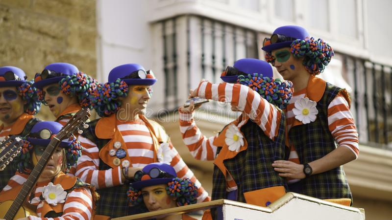 Cadiz, Andalusien, Spanien; Am 12. Februar 2018: Cadiz-Karnevals-Feier lizenzfreie stockfotos