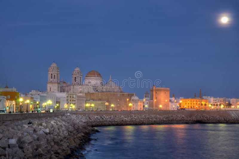 Cadiz cathedral by night royalty free stock photography