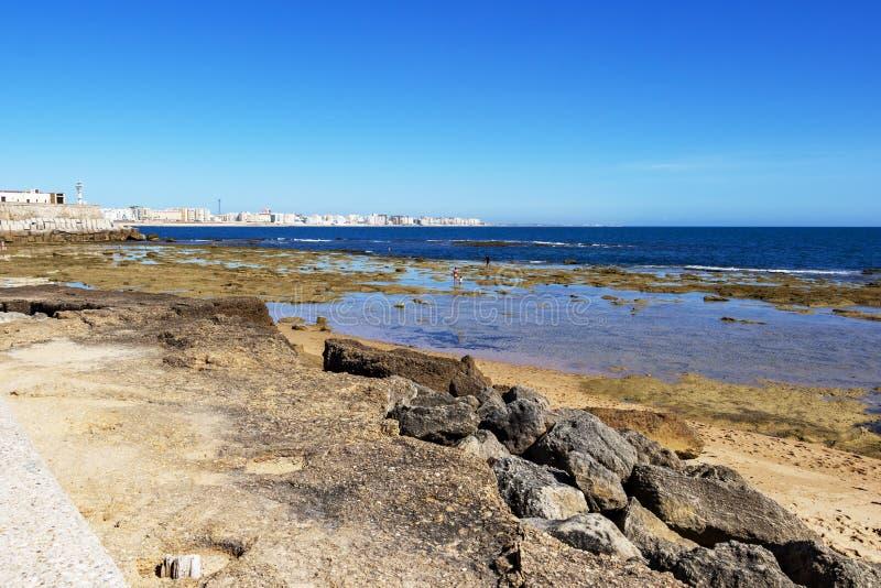 Cadiz linia brzegowa w Andalusia, Hiszpania obrazy royalty free
