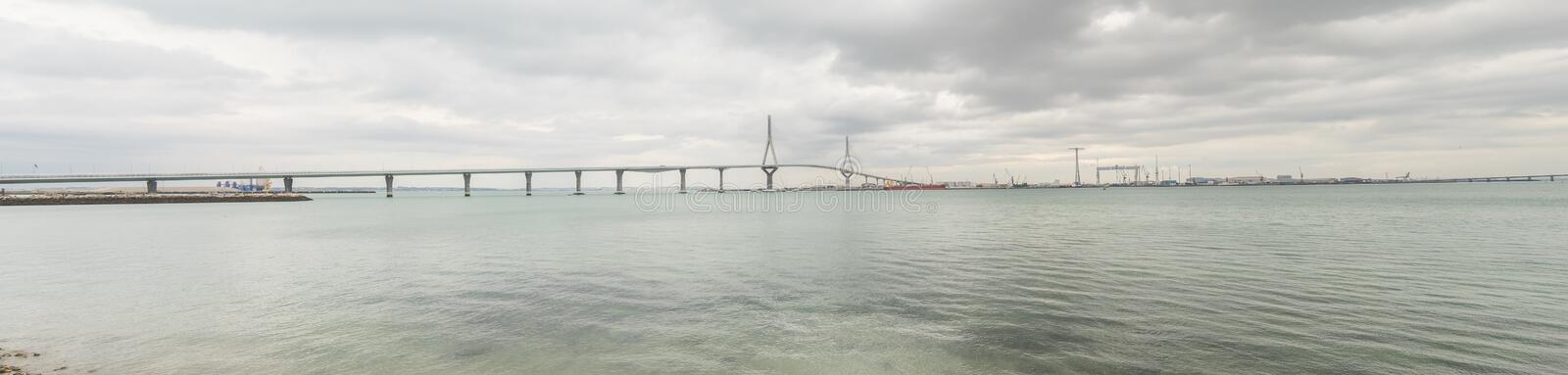Cadiz new bridge panoramic view, called Pepa or the 1812 Constitution, Andalucia, Spain royalty free stock images