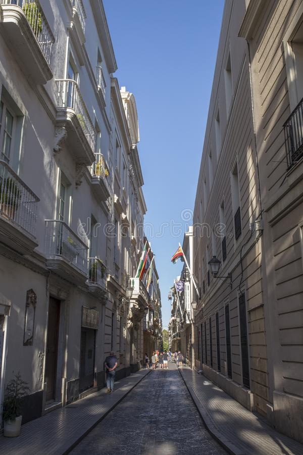 Cadiz old town narrow streets, Andalusia, Spain stock photography