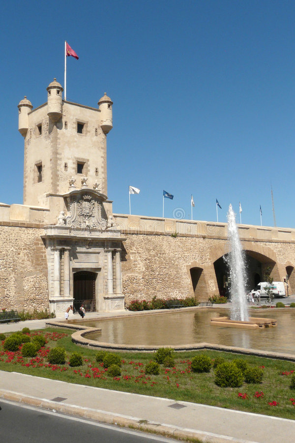 Cadiz's Gate. The gate allowing the access to the fortified part of Cadiz's old town royalty free stock photo