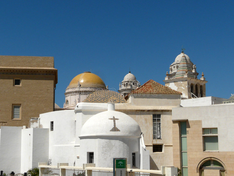 Cadiz's old town. With the church built in moresque's style royalty free stock photos