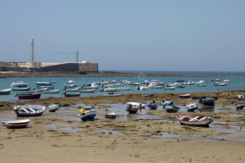 Boats off the Atlantic coast near the fortress of San Sebastian in Cadiz. stock image