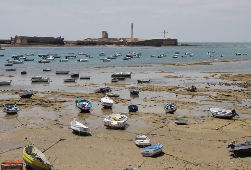 Boats off the Atlantic coast near the fortress of San Sebastian in Cadiz. stock images