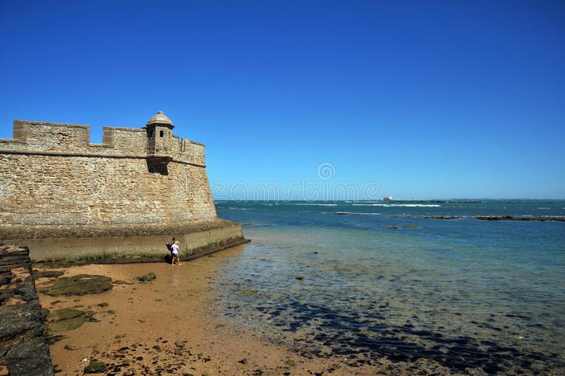 Fortress of San Sebastian on the shores of the ancient maritime city of Cadiz. royalty free stock image