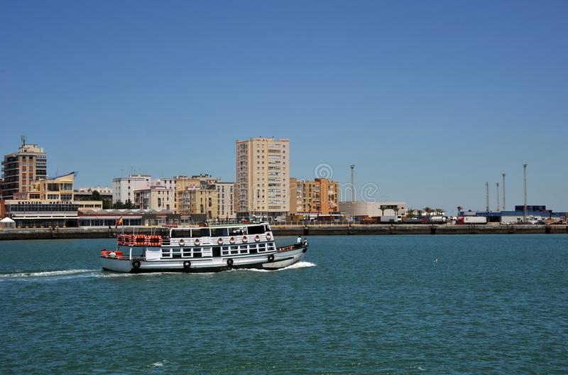 Ships in the harbor of the seaport of Cadiz on the shores of the Cadiz Bay of the Atlantic Ocean. stock photos
