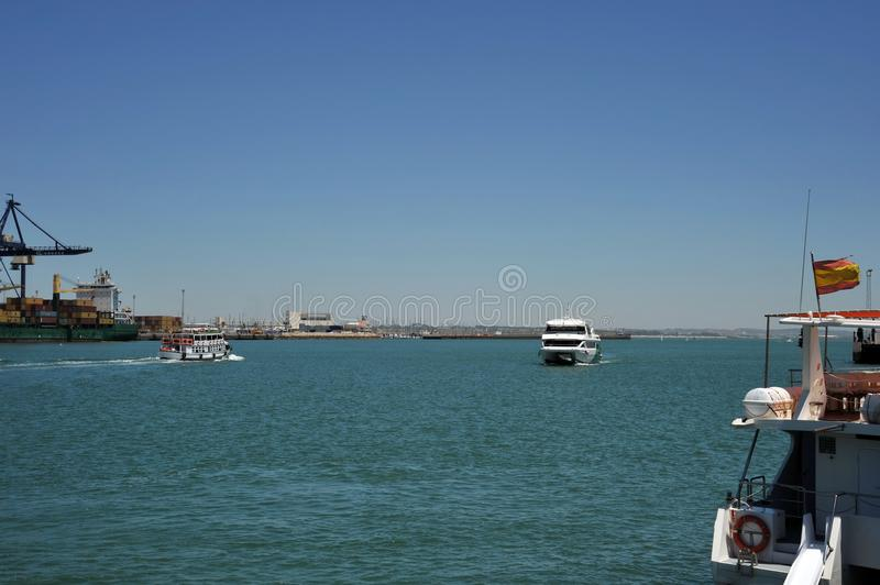 Ships in the harbor of the seaport of Cadiz on the shores of the Cadiz Bay of the Atlantic Ocean. stock photography