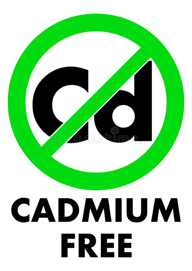 Cadmium free icon. Letters Cd chemical symbol in green crossed vector illustration