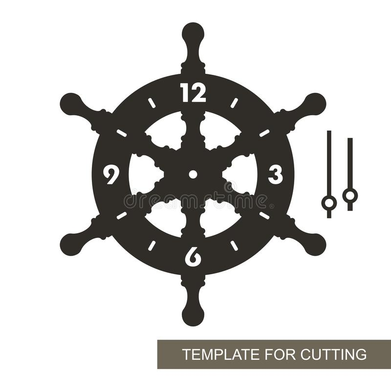 Cadran avec des flèches et des chiffres arabes La forme de la roue Thème marin illustration libre de droits