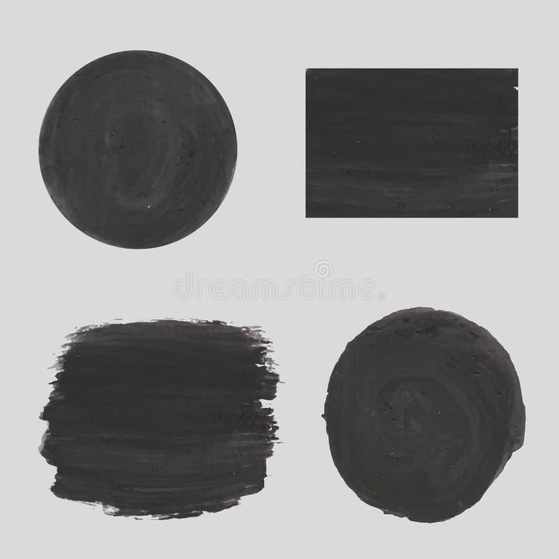 Cadran gris, textures noires de plâtre, craie, ou gouache illustration stock