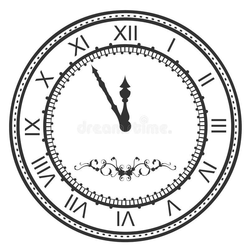 Cadran rond de montre à cinq minutes au minuit Chiffres romains de soirée du Nouveau an illustration stock