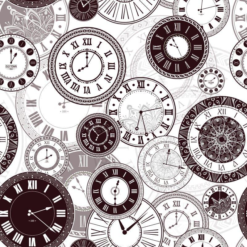 Cadrans d'horloge de vintage de vecteur réglés illustration stock