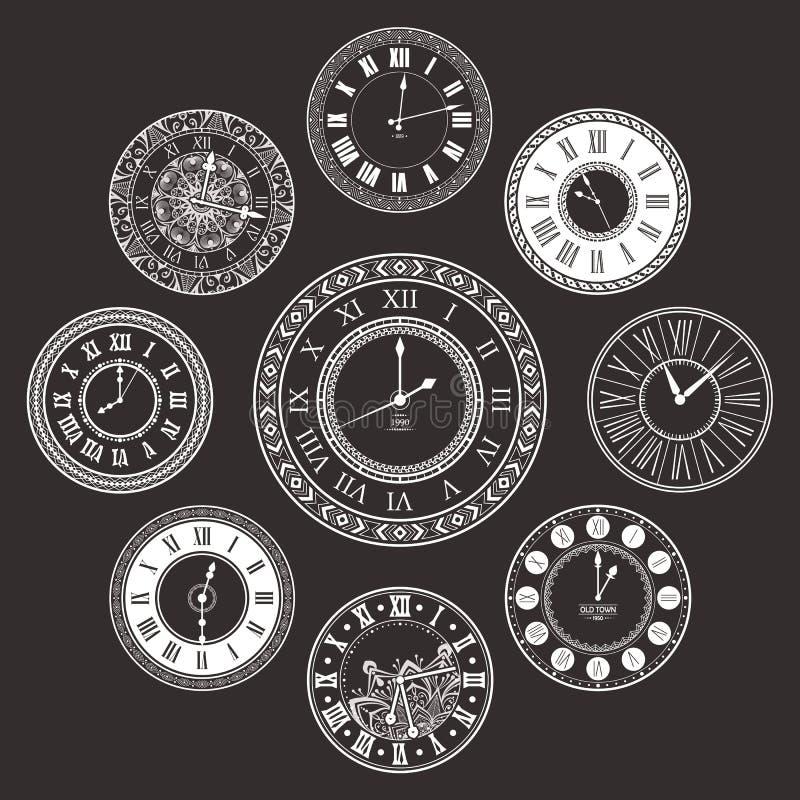 Cadrans d'horloge de vintage de vecteur réglés illustration de vecteur