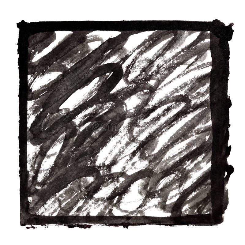 Cadre à l'encre noire avec des courses de griffonnage illustration libre de droits