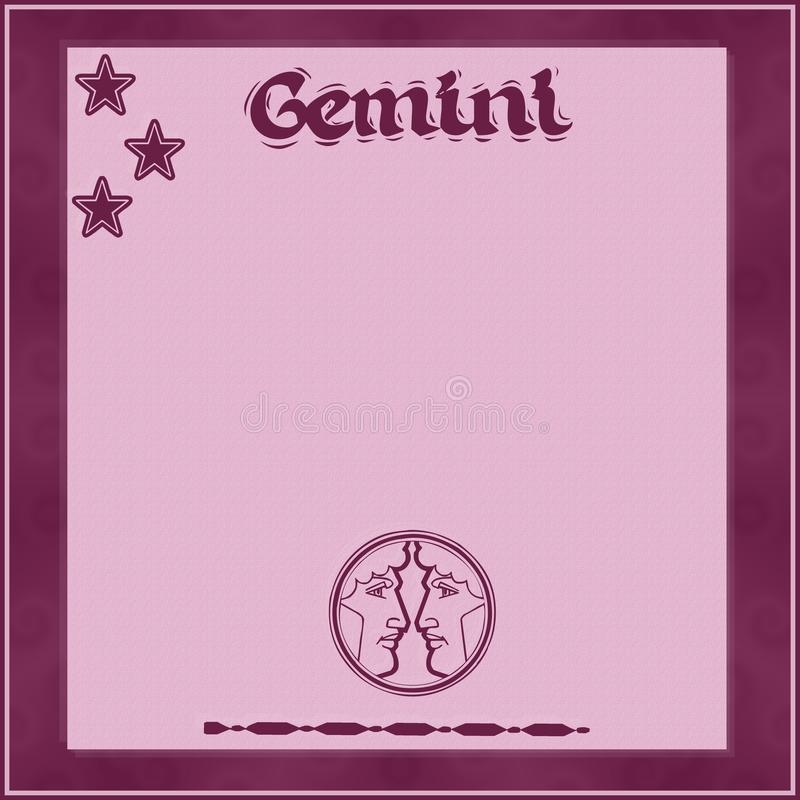 Cadre élégant avec des signe-Gémeaux de zodiaque illustration libre de droits