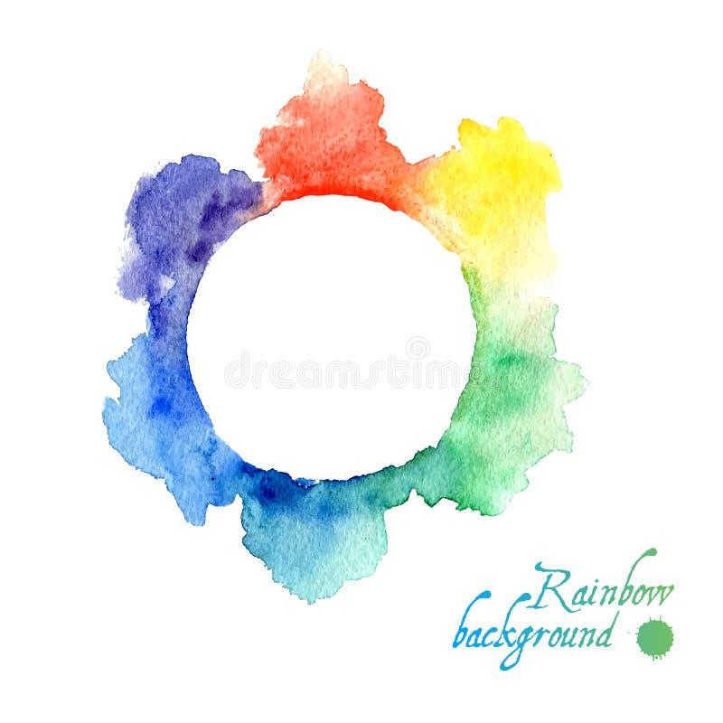Cadre abstrait d'arc-en-ciel d'aquarelle Vecteur illustration stock